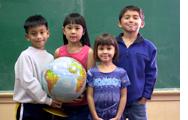 Kids with globe